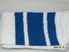 "1 Pair White tube socks with 3 Royal blue stripes-Approx. 28-30""-Made in USA"