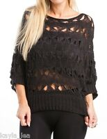 Black 3/4 Sleeve Open Crochet Cover-Up Pullover Sweater Knit Top S M L