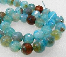 """AAA 10mm Faceted Blue Dragon Veins Agate Round Loose Bead 15"""""""