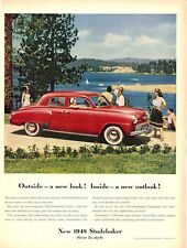 1948 Studebaker PRINT AD V-8 Red 4 door Frame this great detailed photo ad!