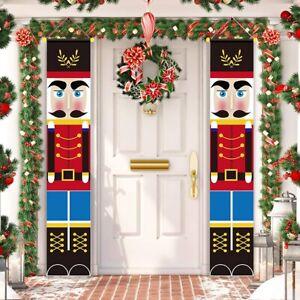 Merry Christmas Knight Santa Snowman Banner Flag Wall Hanging Xmas Party Decor