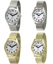 Classic Big Bold Number Easy Reader Expander Bracelet Watches. Men's & Ladies