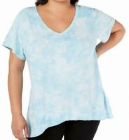 Calvin Klein Womens Activewear Top Blue Size 2X Plus Tie Dye Print $55 467