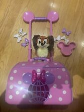 Disney Minnie Mouse Rolling Pet Carrier Wheels- Handle Extends, Bows, Dog, Bowl