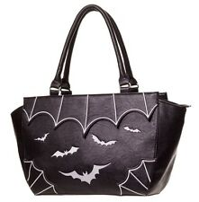 Banned Goth Bat FAUX LEATHER BORSA A TRACOLLA Gotico Vampiro Nero Bianco