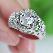 Size 7 White Sapphire 10KT White Gold Filled Ring Men/Women's Wedding Jewelry
