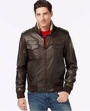 Tommy Hilfiger Men's Leather Faux Sherpa Fur Military Bomber Jacket Brown  L