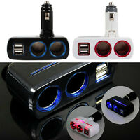 12v 24v 2 Way Multi Socket Splitter Car Cigarette Lighter Charger Adapter 2 USB