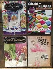 Lot Of 4 New Outdoors Fantasy Color by Number Dot to Dot Adult Coloring Book BN
