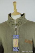 Ralph LAUREN hombres Cardigan XL Cable De Punto Cremallera Caqui Polo EE. UU. Flag Vintage Jean
