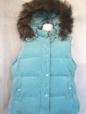 Gap Womans Corduroy Down Vest Baby Blue Size XL