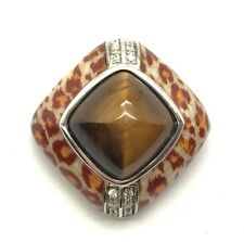 Sterling 925 Tiger's Eye / CZ Enamel Orange / Cream Leopard Print Animal Pendant