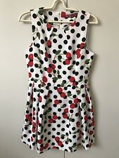 D.D+ The Style Of Korea Dress SiZe M 8 White  Navy Blue Red Cherry Green Leaf