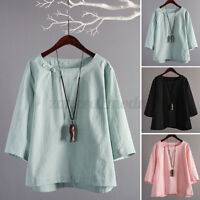 Women Vintage Cotton Long Shirt Tops Ethnic Loose Oversize Blouse Jumper Tops