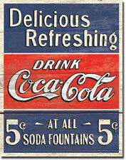 COKE - DELICIOUS 5 CENTS -LARGE METAL TIN SIGN 40.6CM X 31.7CM GENUINE AMERICAN