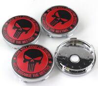 4pcs 60mm FIAT ABARTH Punisher Red Black Badge Emblem Alloy Wheel Caps Hub Rim