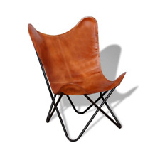 vidaXL 243728 Real Leather Butterfly Chair - Brown