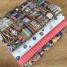 Makower HABERDASHERY Fat Quarter Bundle {E} SEWING BUTTONS BOBBINS RETRO fabrics