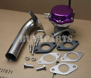 Purple 35/38mm Turbo Manifold Exhaust External Wastegate 14PSI Spring +Dump Pipe
