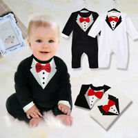 USA Kids Baby Boy Toddler Gentleman Suit Romper Jumpsuit Bodysuit Clothes Outfit
