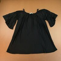 Chatoyant Womens Size Large Black Cold-Shoulder Bell Sleeve Tunic Blouse