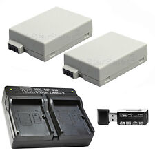 2X LP-E8 Replacement Battery & USB Dual Charger f/Canon EOS T2i T3i T4i T5i 700D