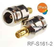 2-Pack N-Type Female to RP-SMA Reverse Polarity Female RF Adapters, RF-S161-2