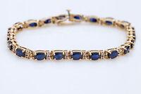 15.00Ct Oval Cut Blue Sapphire & Diamond 14k Yellow Gold Finish Tennis Bracelet