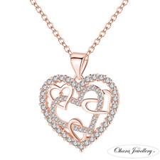 18K Gold Love Heart Cubic Zirconia Bling Long Pendant Womens Necklace Jewellery
