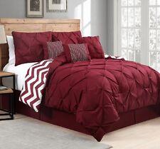 Luxurious Reversible 7-Piece Comforter Set Queen Size Bed Bedding Pintucks Red