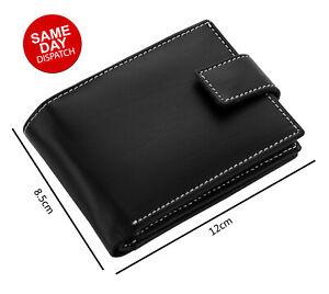 Mens GENUINE Leather Wallet Slim RFID Blocking Trifold pocket Card Holder Purse