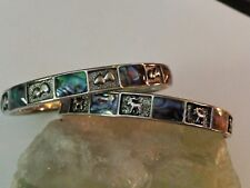 Set of 2  Abalone & Hearts,Abalone & Deers Silver Tone Bangles