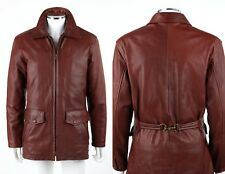 COACH Mahogany Brown Leather Zipper Front Belted Back Car Coat Jacket Size M