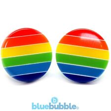 Bluebubble RETRO RAINBOW Round Button Earrings Kitsch Funky Fun Festival 80s 90s