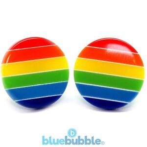 Bluebubble RETRO RAINBOW Round Button Earrings Kitsch Funky Fun Festival 80s 90s