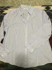 Alfred Sung Womens Blouse - Light Blue Gingham Print -NWT-Size XL