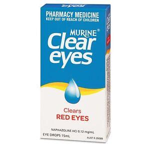 Murine Clear Eyes 15ml Clears Red Eyes Naphazoline HCI 0.12 mg/ml