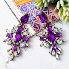 Statement deep purple & white crystal drop cluster cocktail chandelier earrings