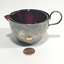 Vintage Milk Creamer Made in England Silver With Red Glass Insert
