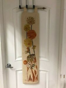 Evelyn Ackerman MCM Wool Tapestry Hooked Rug Flowers Birds Man Woman DS02