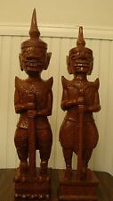 "Unique Large 2 Ancient Wood Carved Warriors/Guards Sculptures 21"" & 22.2"" Tall"