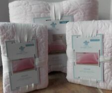 Simply Shabby Chic Light Pink Stitched Rose Floral King Quilt + Shams ~ NEW