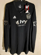 Adidas Authentic MLS Kansas City Sporting Team Long Sleeve Jersey Black sz XL