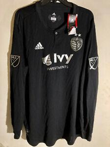 Adidas Authentic MLS Kansas City Sporting Team Long Sleeve Jersey Black sz XL