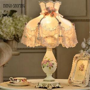 Delicate European Rose Flower Bedside Desk Table Lamp