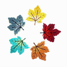 1PC Maple Leaf Embroidery Applique Sticker Iron Sew on Cloth Patches Badge DIY