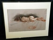 Hawaii Framed Mixed Media Painting Sleeping Nude by Snowden Hodges (Sho)