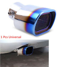 Car Universal Stainless Steel Grilled Blue Square Tube Exhaust Tail Muffler Tip