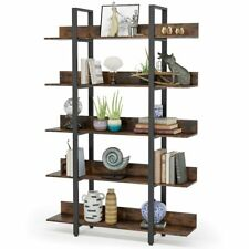 Tribesigns Industrial 5 Tier Bookcase Office Anti-falling Bookshelf Rustic Brown