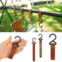 4pcs Outdoor PU Leather Hooks Camping Tripod Portable Hiking HangerClothes Hook/